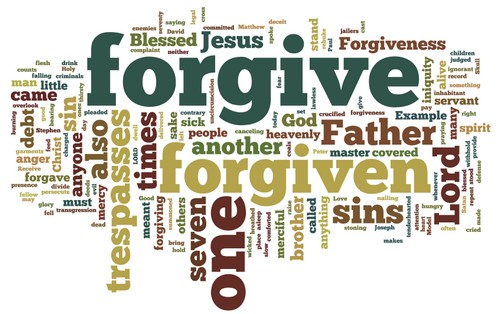 This image shows the word density from these forgiveness scripture
